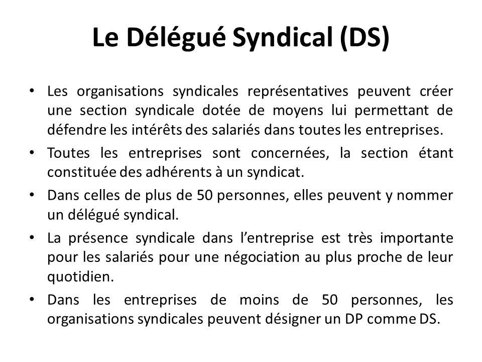 Le Délégué Syndical (DS) Les organisations syndicales représentatives peuvent créer une section syndicale dotée de moyens lui permettant de défendre les intérêts des salariés dans toutes les entreprises.