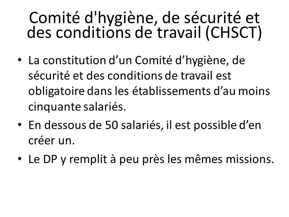 Comité d hygiène, de sécurité et des conditions de travail (CHSCT) La constitution dun Comité dhygiène, de sécurité et des conditions de travail est obligatoire dans les établissements dau moins cinquante salariés.