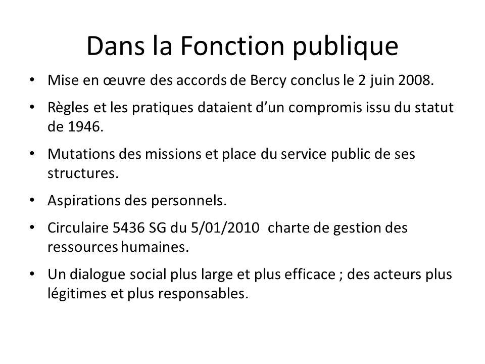 Dans la Fonction publique Mise en œuvre des accords de Bercy conclus le 2 juin 2008.