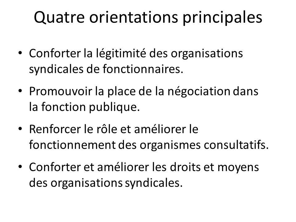 Quatre orientations principales Conforter la légitimité des organisations syndicales de fonctionnaires.