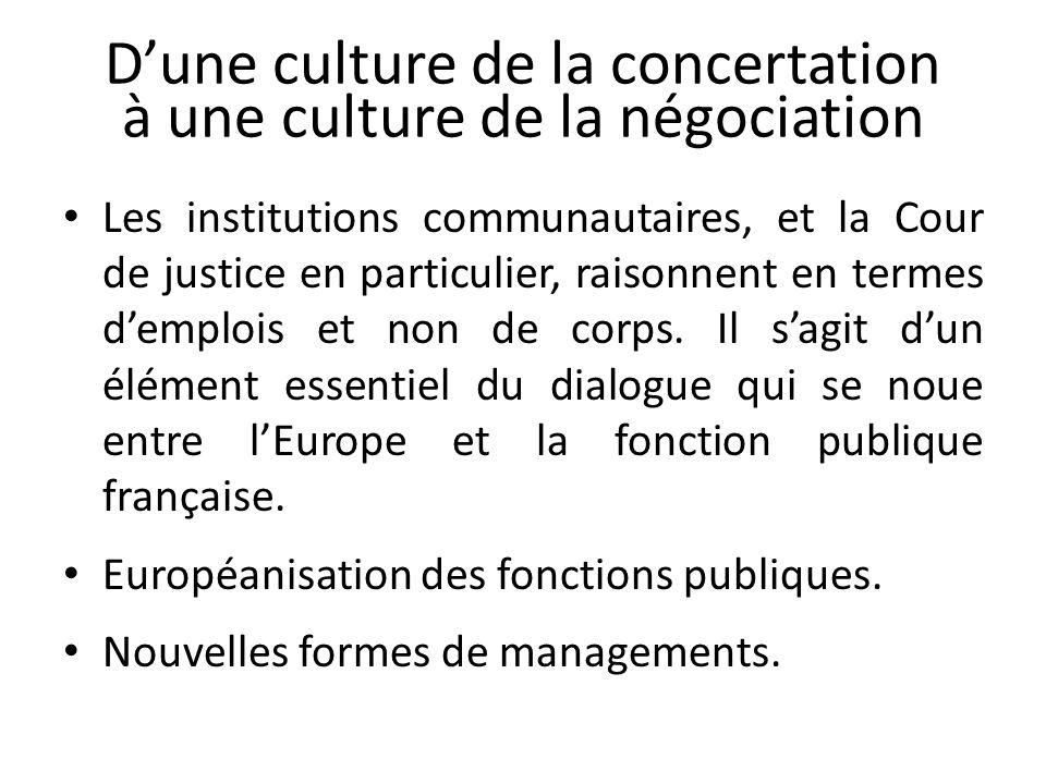 Dune culture de la concertation à une culture de la négociation Les institutions communautaires, et la Cour de justice en particulier, raisonnent en termes demplois et non de corps.