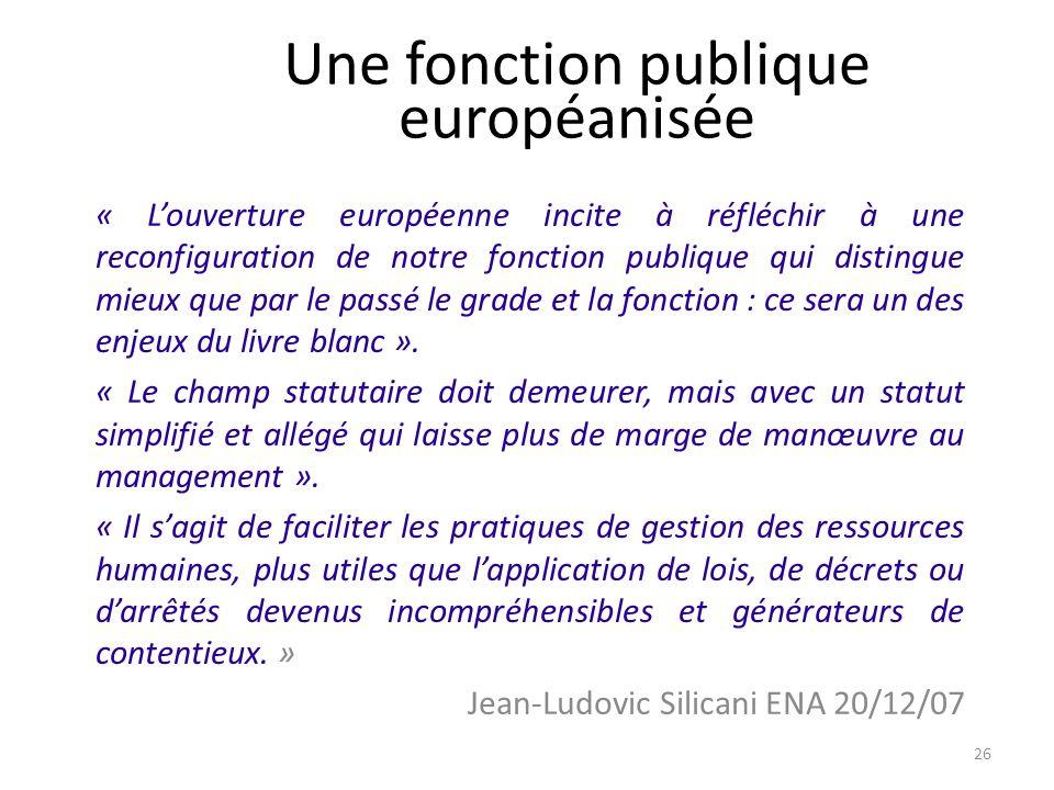 Une fonction publique européanisée « Louverture européenne incite à réfléchir à une reconfiguration de notre fonction publique qui distingue mieux que par le passé le grade et la fonction : ce sera un des enjeux du livre blanc ».