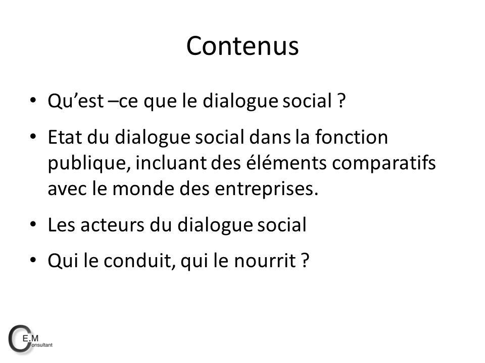 Contenus Quest –ce que le dialogue social .