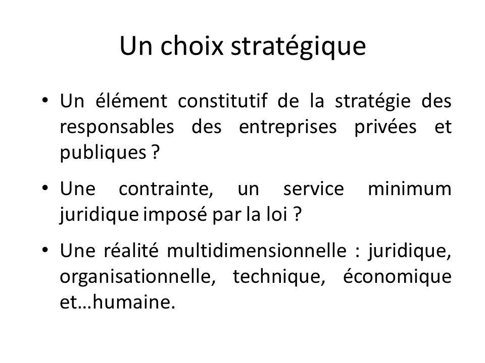 Un choix stratégique Un élément constitutif de la stratégie des responsables des entreprises privées et publiques .