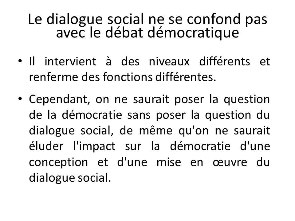 Le dialogue social ne se confond pas avec le débat démocratique Il intervient à des niveaux différents et renferme des fonctions différentes.