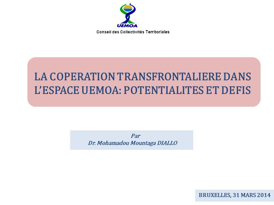 LA COPERATION TRANSFRONTALIERE DANS LESPACE UEMOA: POTENTIALITES ET DEFIS Conseil des Collectivités Territoriales BRUXELLES, 31 MARS 2014 Par Dr. Moha