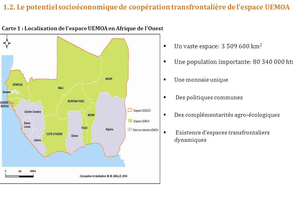 1.2. Le potentiel socioéconomique de coopération transfrontalière de lespace UEMOA Carte 1 : Localisation de lespace UEMOA en Afrique de lOuest Un vas