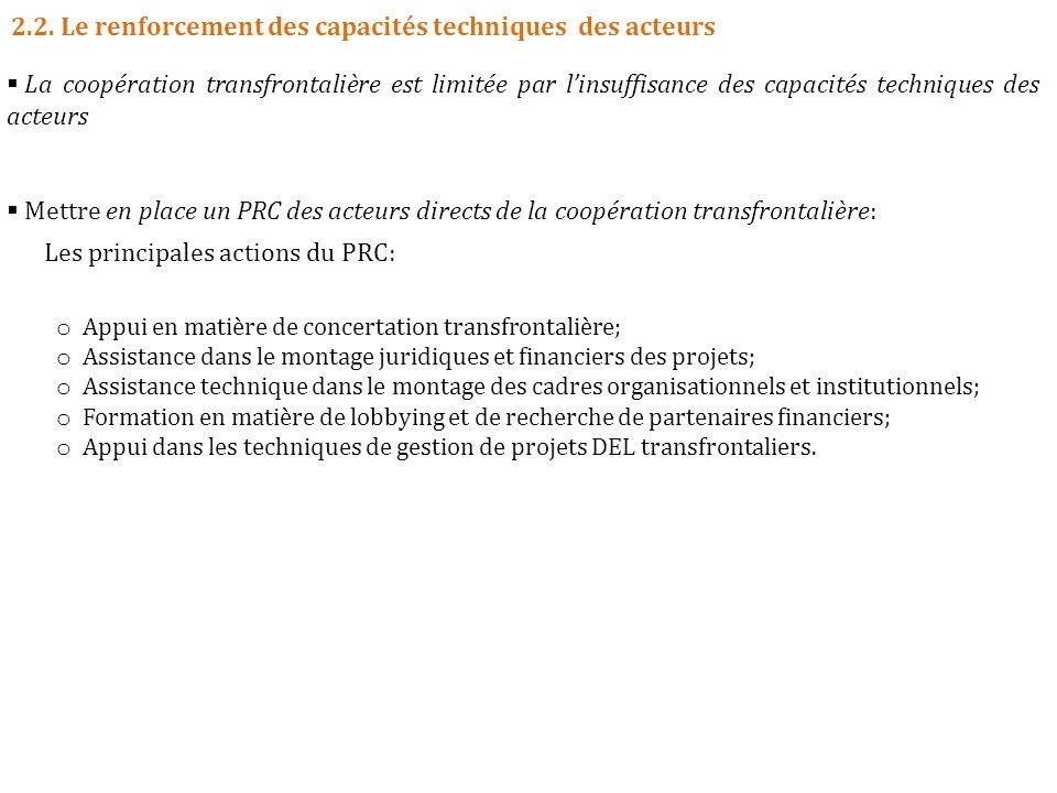 2.2. Le renforcement des capacités techniques des acteurs La coopération transfrontalière est limitée par linsuffisance des capacités techniques des a