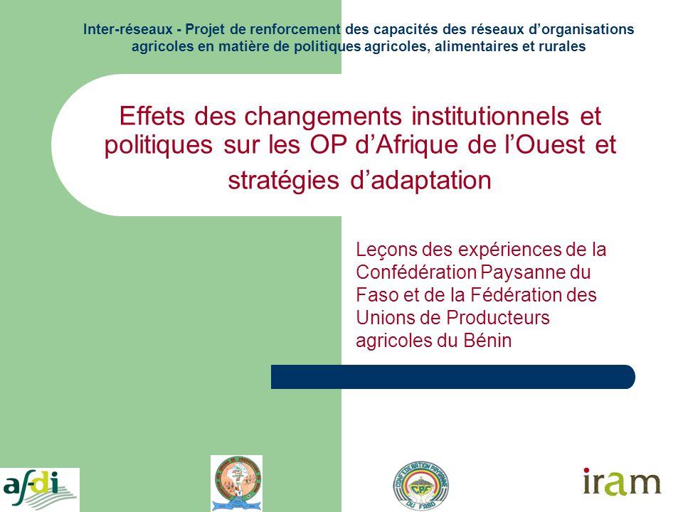 Effets des changements institutionnels et politiques sur les OP dAfrique de lOuest et stratégies dadaptation Leçons des expériences de la Confédératio