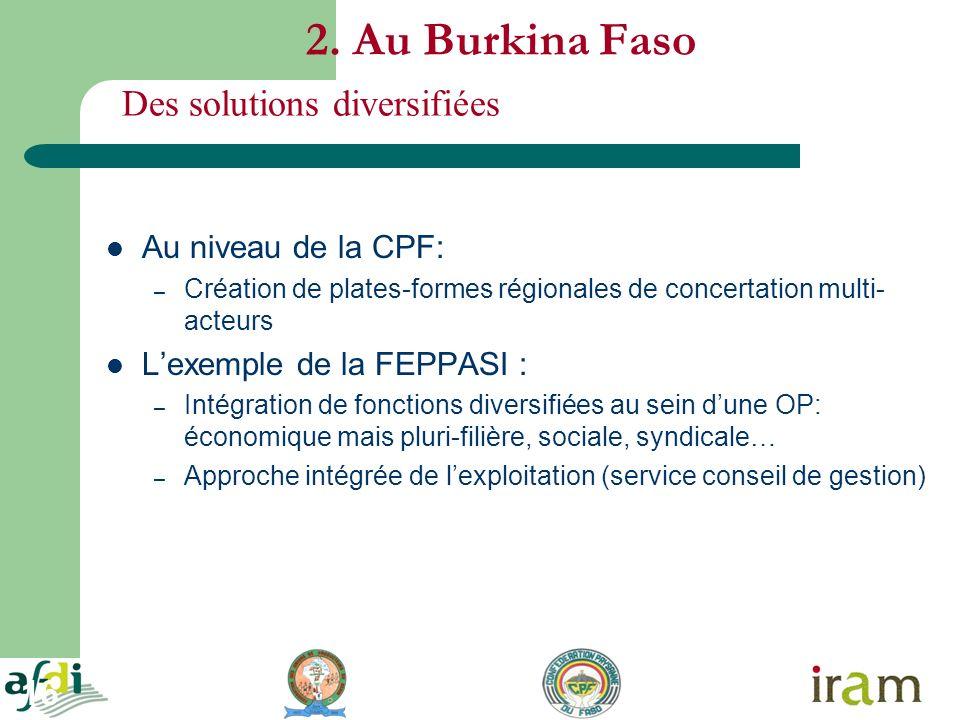 16 2. Au Burkina Faso Au niveau de la CPF: – Création de plates-formes régionales de concertation multi- acteurs Lexemple de la FEPPASI : – Intégratio