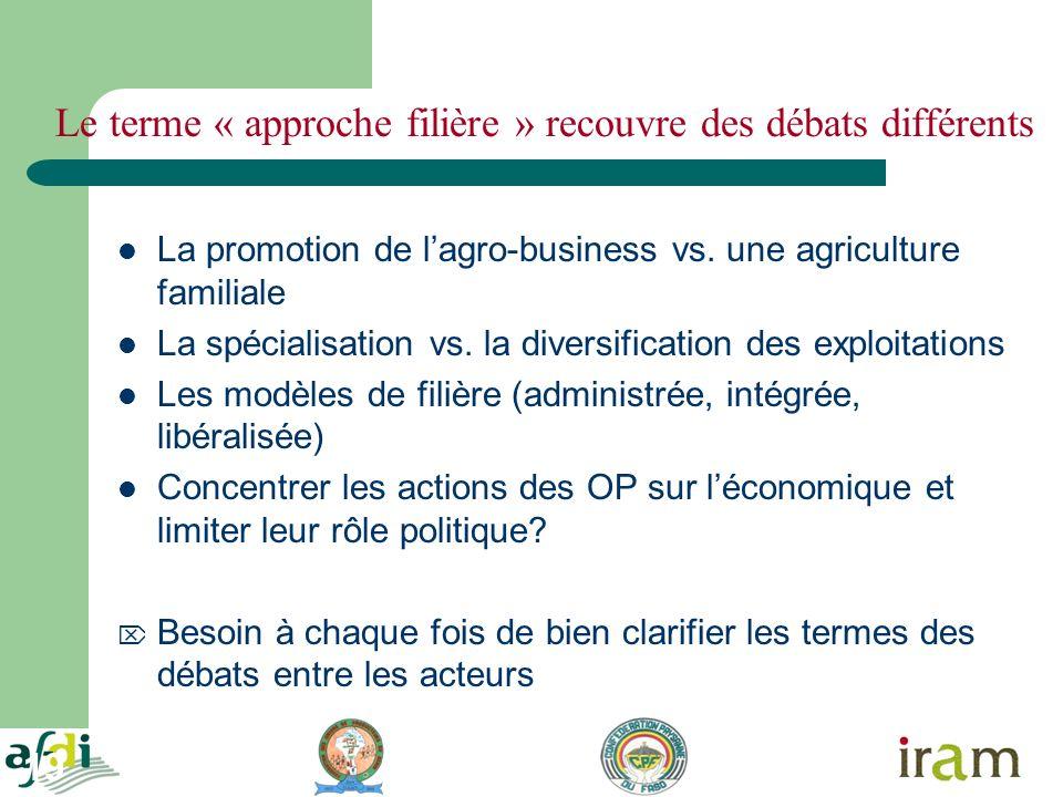 19 Le terme « approche filière » recouvre des débats différents La promotion de lagro-business vs. une agriculture familiale La spécialisation vs. la
