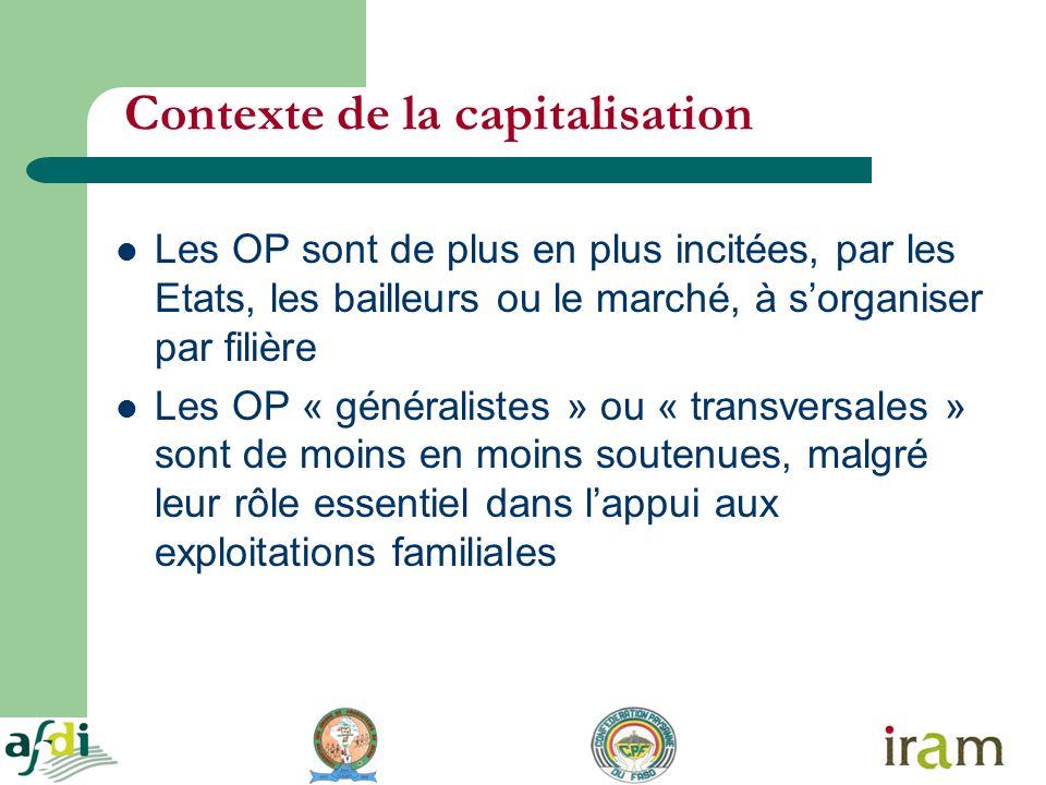2 Contexte de la capitalisation Les OP sont de plus en plus incitées, par les Etats, les bailleurs ou le marché, à sorganiser par filière Les OP « gén