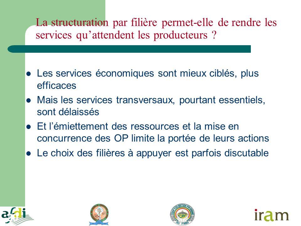20 La structuration par filière permet-elle de rendre les services quattendent les producteurs ? Les services économiques sont mieux ciblés, plus effi