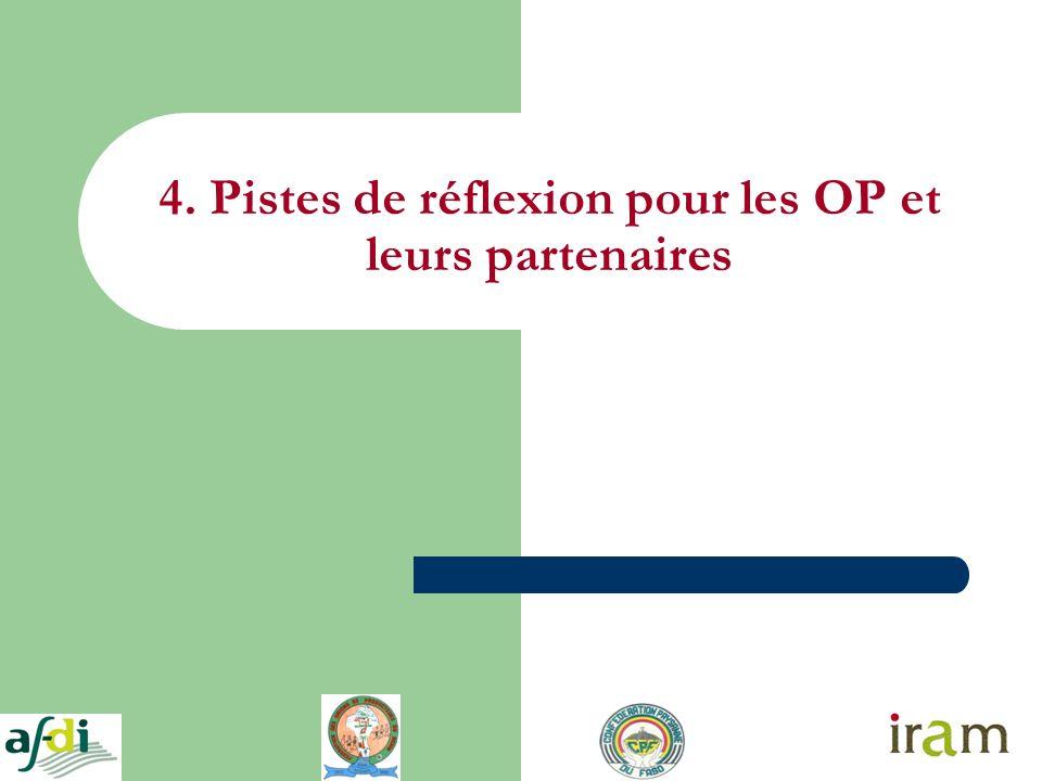 4. Pistes de réflexion pour les OP et leurs partenaires