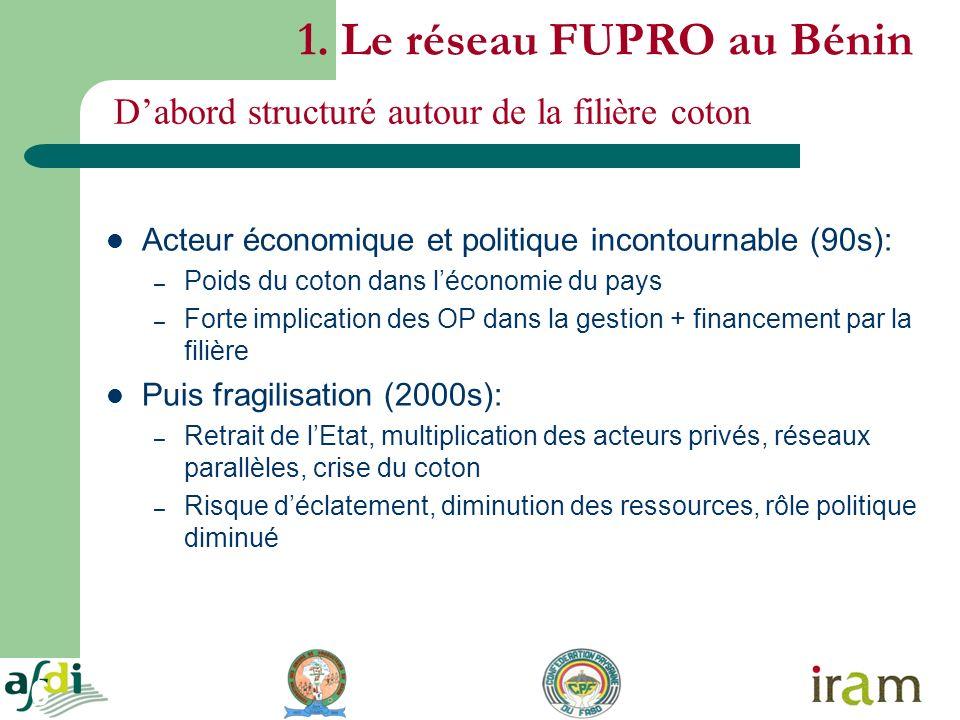 6 1. Le réseau FUPRO au Bénin Acteur économique et politique incontournable (90s): – Poids du coton dans léconomie du pays – Forte implication des OP