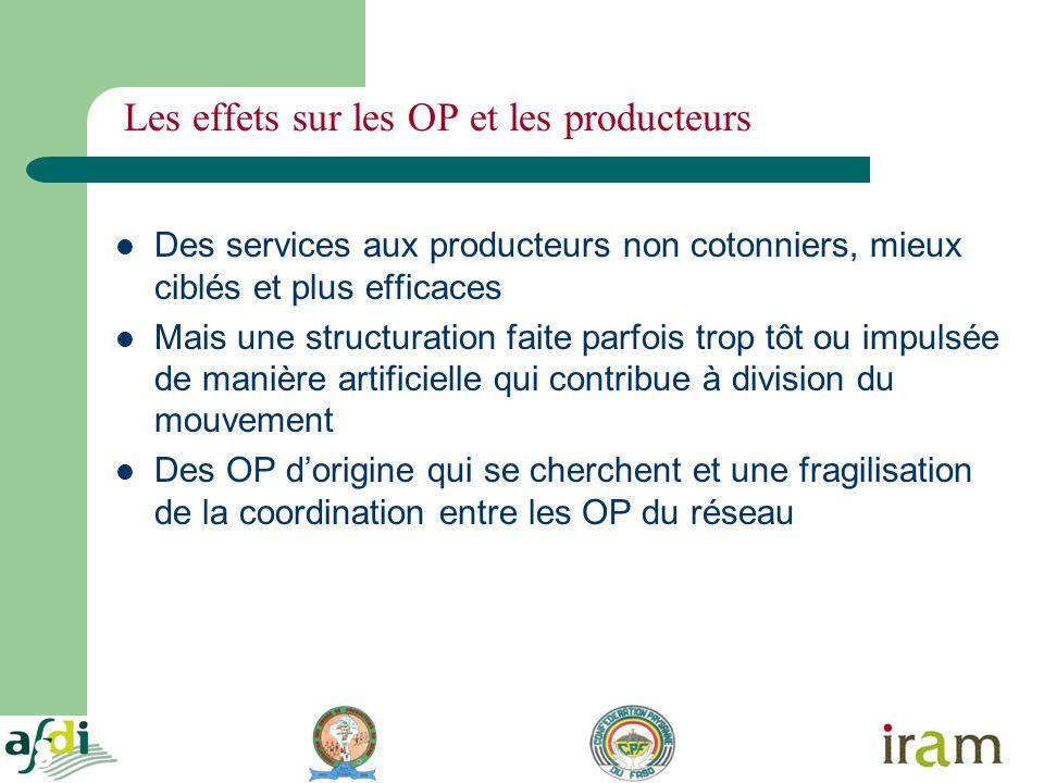 8 Les effets sur les OP et les producteurs Des services aux producteurs non cotonniers, mieux ciblés et plus efficaces Mais une structuration faite pa