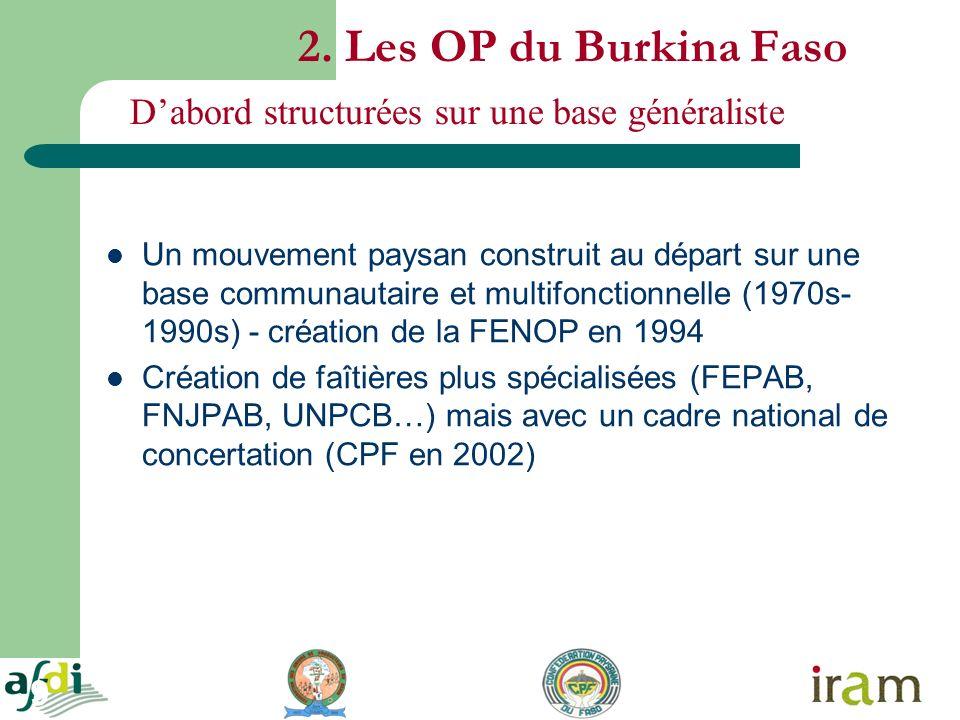 9 2. Les OP du Burkina Faso Un mouvement paysan construit au départ sur une base communautaire et multifonctionnelle (1970s- 1990s) - création de la F