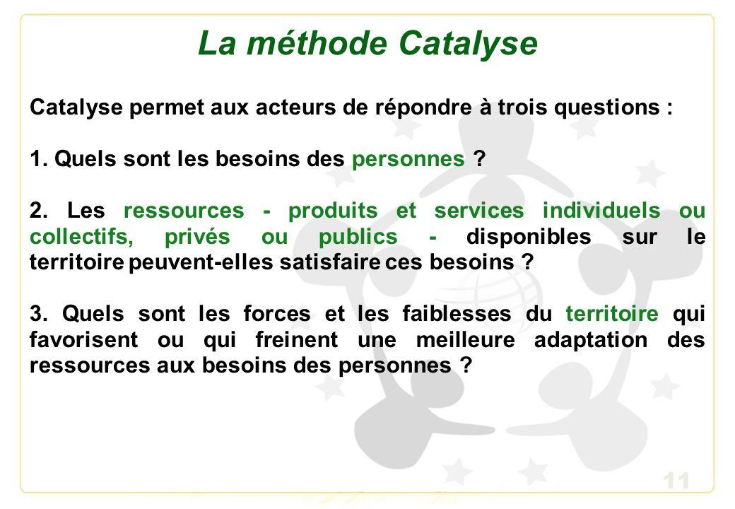 12 Les outils Catalyse Catalyse propose aux acteurs de participer à la réalisation de : - Un diagnostic quantitatif et qualitatif, pour définir et mesurer les principaux profils de besoins.