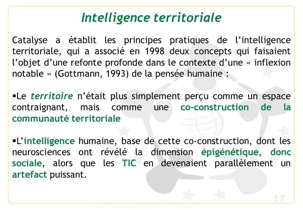 17 Intelligence territoriale Catalyse a établit les principes pratiques de lintelligence territoriale, qui a associé en 1998 deux concepts qui faisaie
