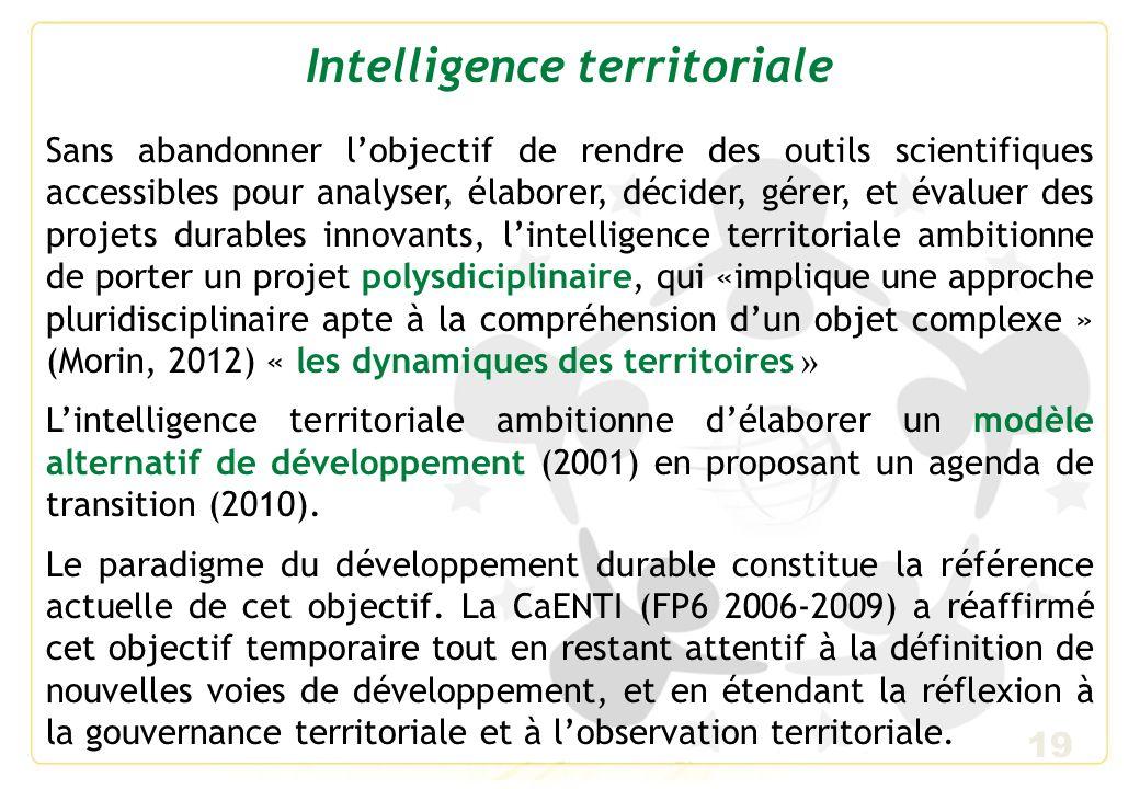 20 Développement durable Le recours aux technologies du knowledge management, qui a caractérisé les premiers pas de lintelligence territoriale, avait fini par créer une confusion avec lintelligence économique.
