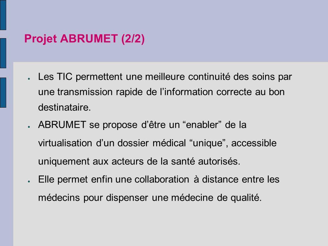 Projet ABRUMET (2/2) Les TIC permettent une meilleure continuité des soins par une transmission rapide de linformation correcte au bon destinataire.