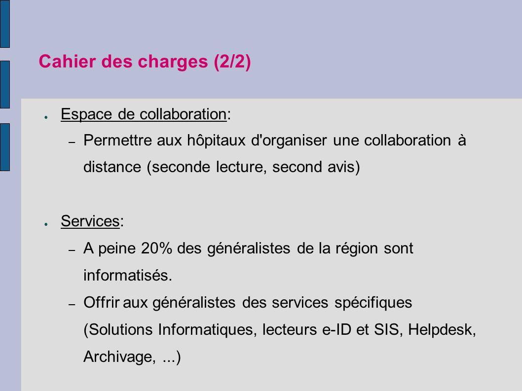 Cahier des charges (2/2) Espace de collaboration: – Permettre aux hôpitaux d organiser une collaboration à distance (seconde lecture, second avis) Services: – A peine 20% des généralistes de la région sont informatisés.