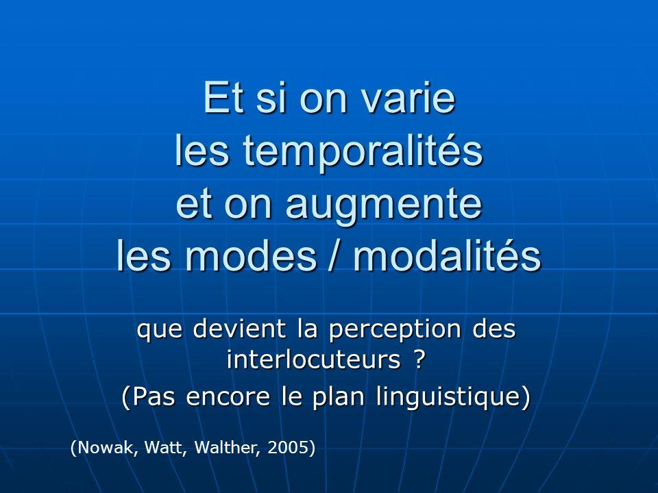 Et si on varie les temporalités et on augmente les modes / modalités que devient la perception des interlocuteurs .