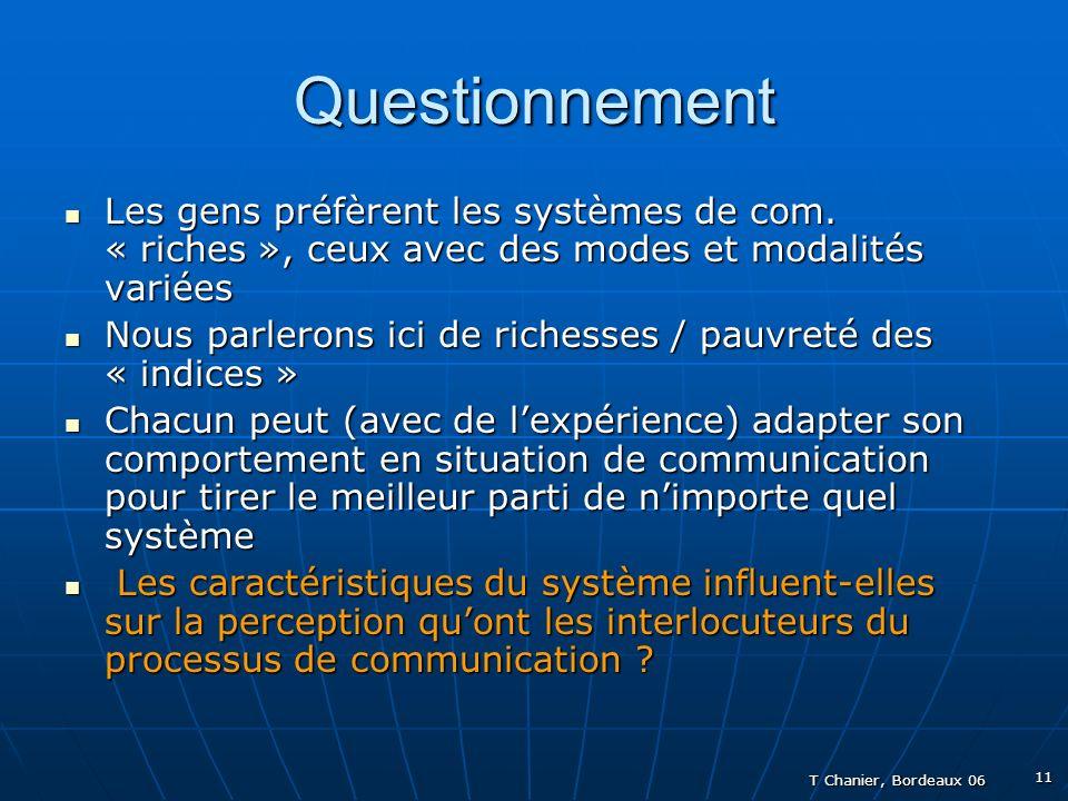 T Chanier, Bordeaux 06 11 Questionnement Les gens préfèrent les systèmes de com.