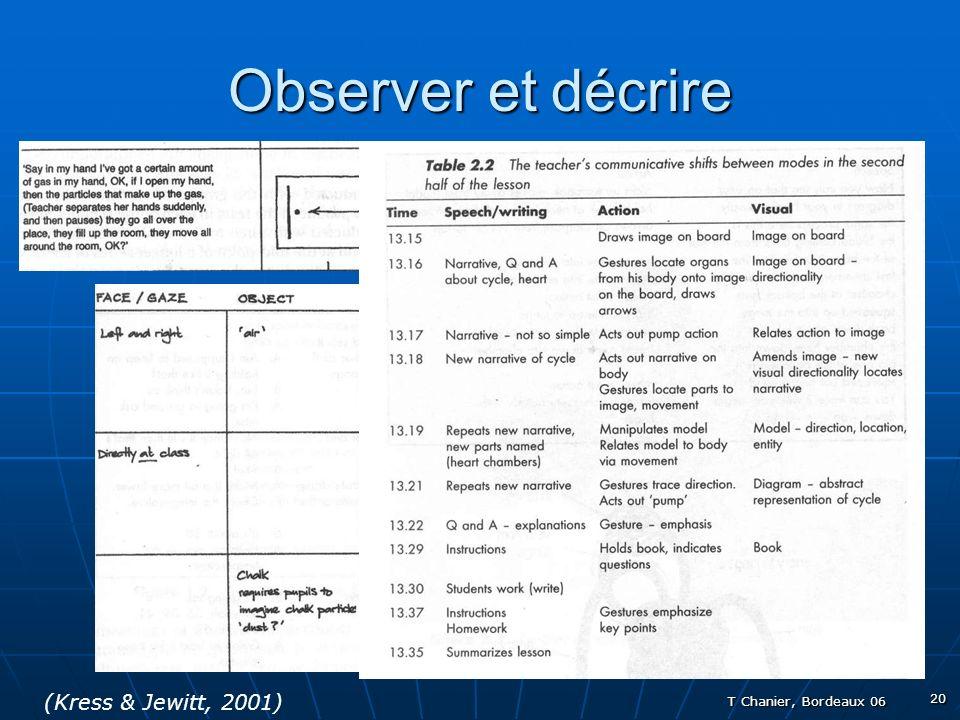 T Chanier, Bordeaux 06 20 Observer et décrire (Kress & Jewitt, 2001)