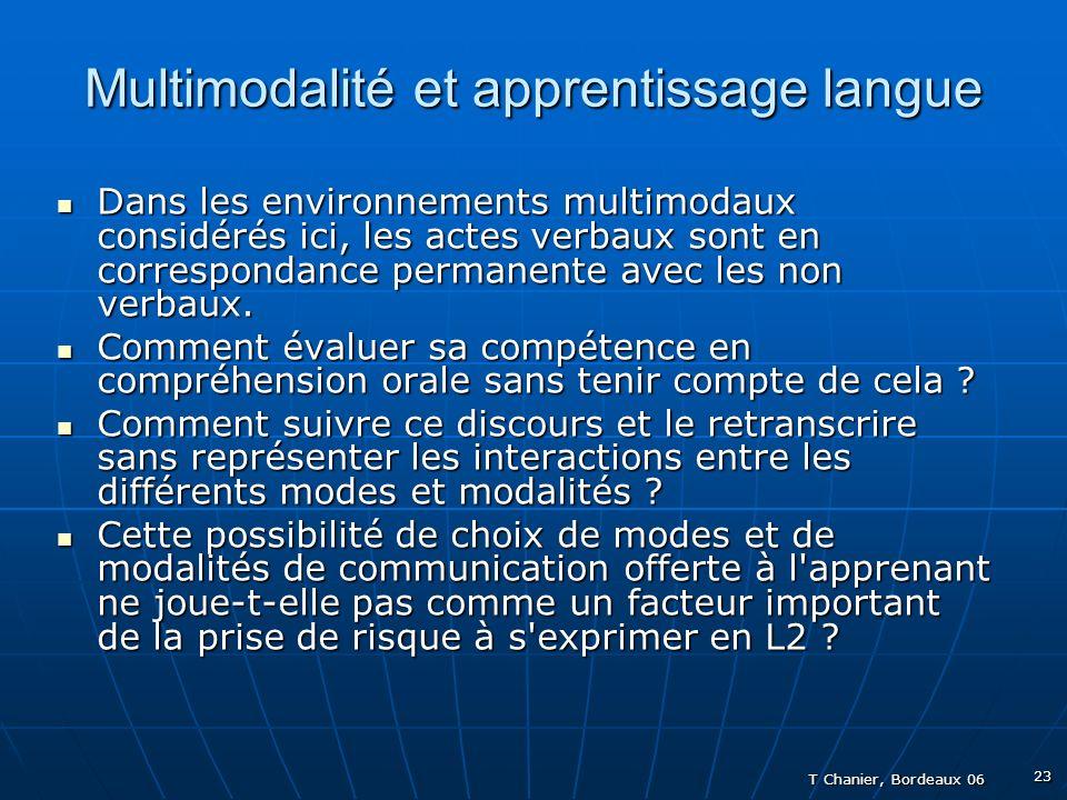 T Chanier, Bordeaux 06 23 Multimodalité et apprentissage langue Dans les environnements multimodaux considérés ici, les actes verbaux sont en correspondance permanente avec les non verbaux.