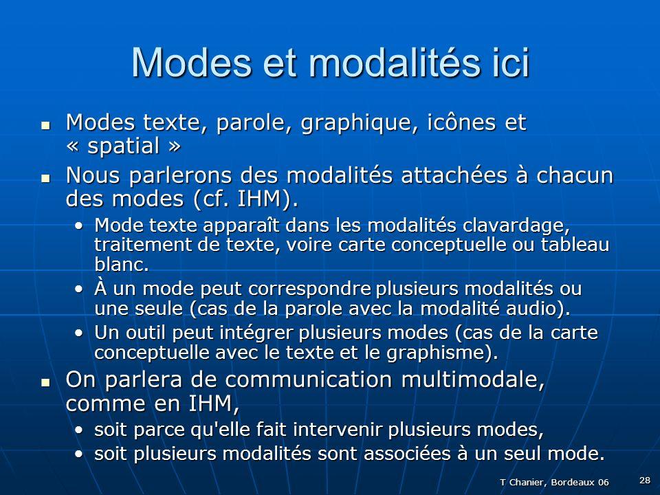 T Chanier, Bordeaux 06 28 Modes et modalités ici Modes texte, parole, graphique, icônes et « spatial » Modes texte, parole, graphique, icônes et « spatial » Nous parlerons des modalités attachées à chacun des modes (cf.