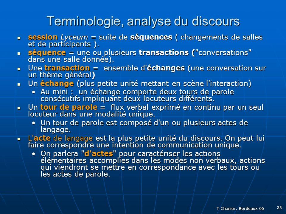 T Chanier, Bordeaux 06 33 Terminologie, analyse du discours session Lyceum = suite de séquences ( changements de salles et de participants ).