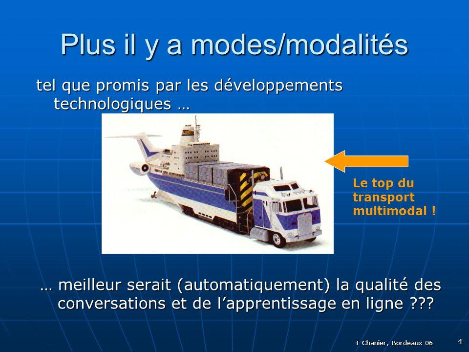 T Chanier, Bordeaux 06 4 Plus il y a modes/modalités tel que promis par les développements technologiques … … meilleur serait (automatiquement) la qualité des conversations et de lapprentissage en ligne ??.