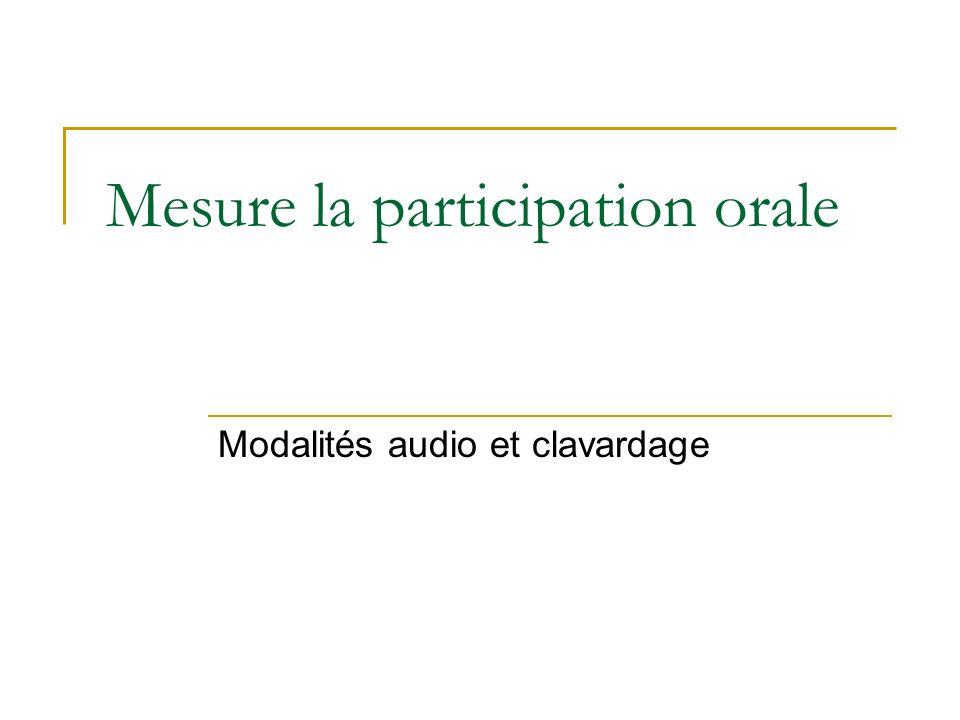 Mesure la participation orale Modalités audio et clavardage