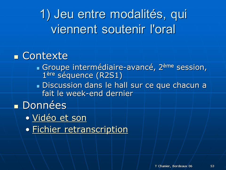 T Chanier, Bordeaux 06 53 1) Jeu entre modalités, qui viennent soutenir l oral Contexte Contexte Groupe intermédiaire-avancé, 2 ème session, 1 ère séquence (R2S1) Groupe intermédiaire-avancé, 2 ème session, 1 ère séquence (R2S1) Discussion dans le hall sur ce que chacun a fait le week-end dernier Discussion dans le hall sur ce que chacun a fait le week-end dernier Données Données Vidéo et sonVidéo et sonVidéo et sonVidéo et son Fichier retranscriptionFichier retranscriptionFichier retranscriptionFichier retranscription