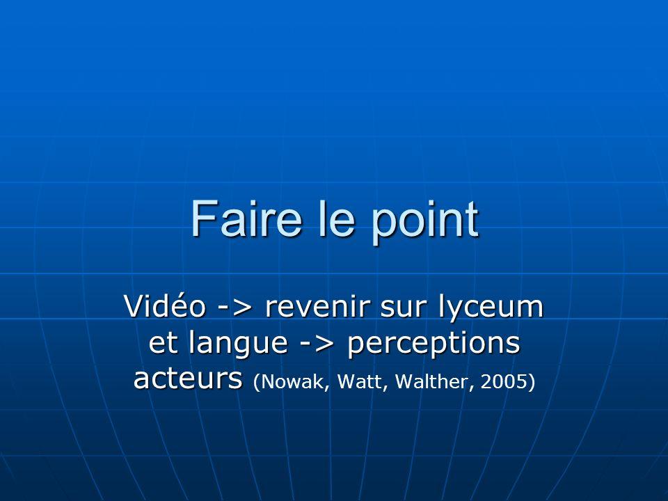 Faire le point Vidéo -> revenir sur lyceum et langue -> perceptions acteurs Vidéo -> revenir sur lyceum et langue -> perceptions acteurs (Nowak, Watt, Walther, 2005)