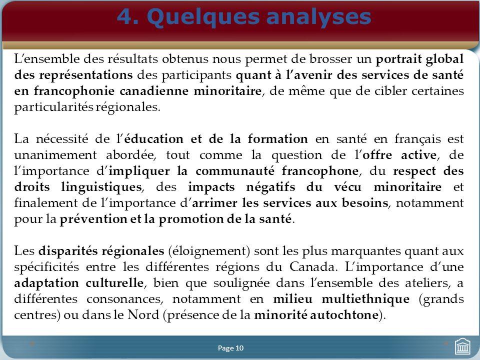 4. Quelques analyses Page 10 Lensemble des résultats obtenus nous permet de brosser un portrait global des représentations des participants quant à la