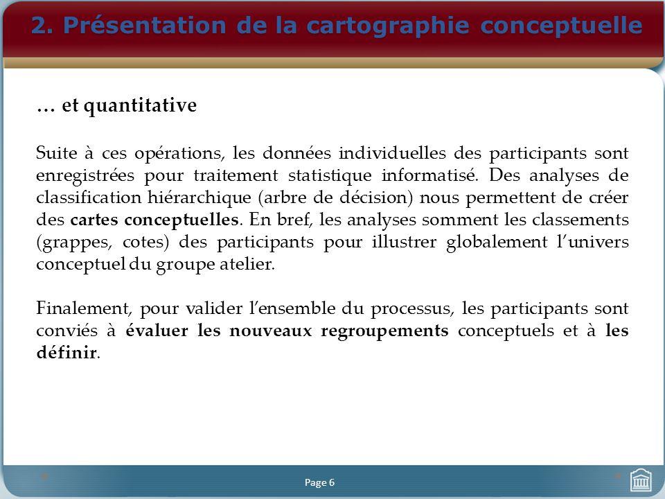 2. Présentation de la cartographie conceptuelle Page 6 … et quantitative Suite à ces opérations, les données individuelles des participants sont enreg