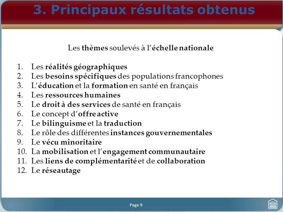 3. Principaux résultats obtenus Page 9 Les thèmes soulevés à léchelle nationale 1.Les réalités géographiques 2.Les besoins spécifiques des populations
