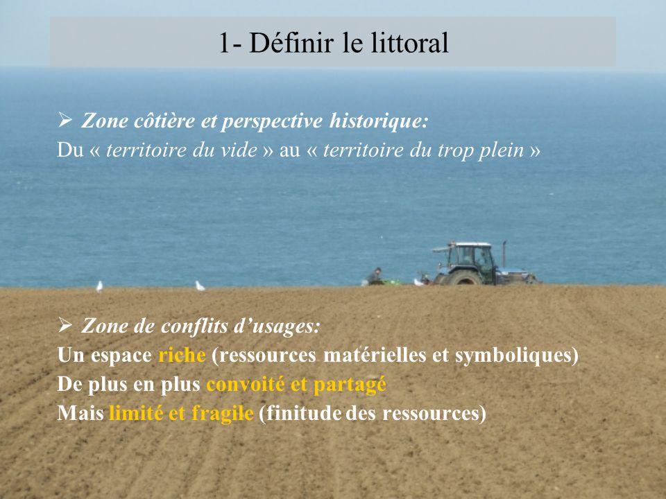 1- Définir le littoral Zone côtière et perspective historique: Du « territoire du vide » au « territoire du trop plein » Zone de conflits dusages: Un