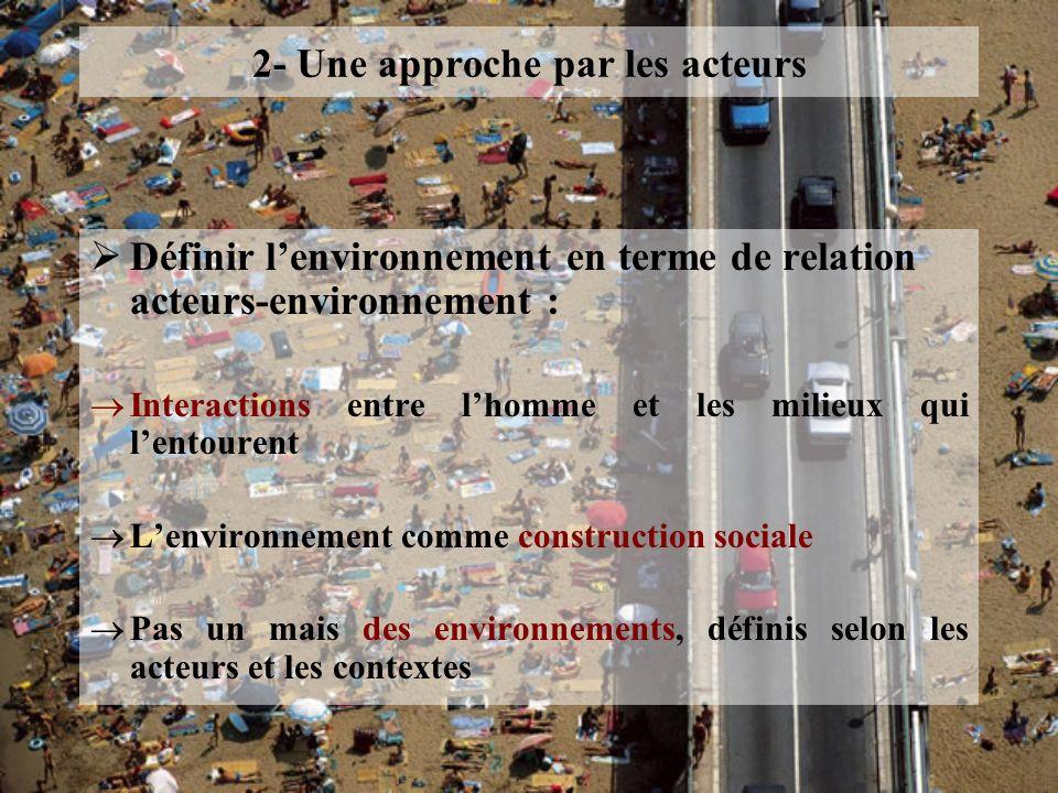 2- Une approche par les acteurs Définir lenvironnement en terme de relation acteurs-environnement : Interactions entre lhomme et les milieux qui lento