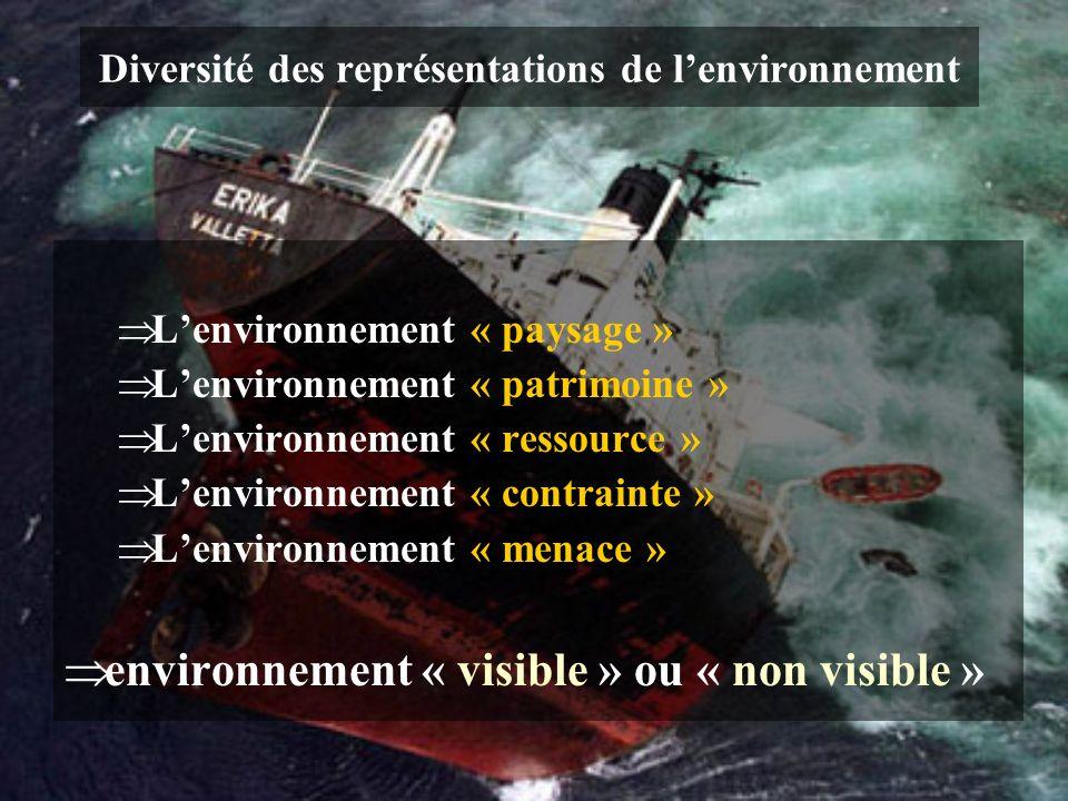 Diversité des représentations de lenvironnement Lenvironnement « paysage » Lenvironnement « patrimoine » Lenvironnement « ressource » Lenvironnement «