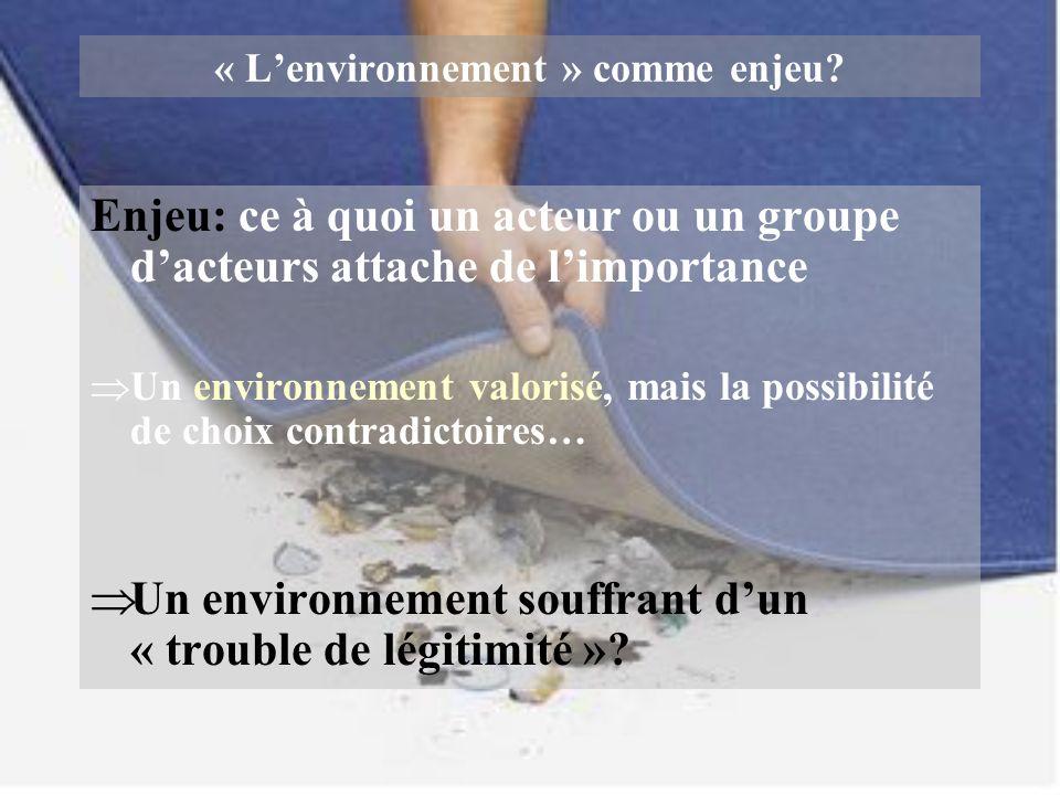 « Lenvironnement » comme enjeu? Enjeu: ce à quoi un acteur ou un groupe dacteurs attache de limportance Un environnement valorisé, mais la possibilité
