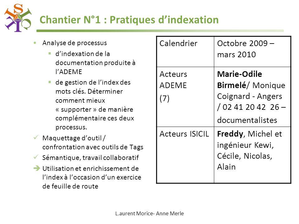 L.aurent Morice- Anne Merle Chantier N°1 : Pratiques dindexation Analyse de processus dindexation de la documentation produite à lADEME de gestion de