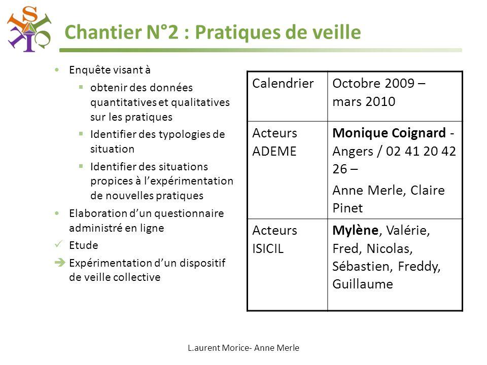 L.aurent Morice- Anne Merle Chantier N°2 : Pratiques de veille Enquête visant à obtenir des données quantitatives et qualitatives sur les pratiques Id