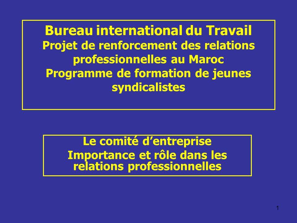 1 Bureau international du Travail Projet de renforcement des relations professionnelles au Maroc Programme de formation de jeunes syndicalistes Le com