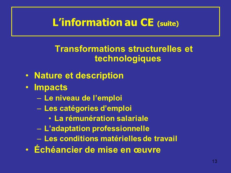 13 Linformation au CE (suite) Transformations structurelles et technologiques Nature et description Impacts –Le niveau de lemploi –Les catégories demp