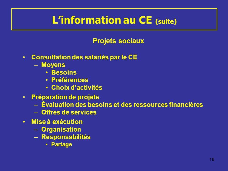 16 Linformation au CE (suite) Projets sociaux Consultation des salariés par le CE –Moyens Besoins Préférences Choix dactivités Préparation de projets
