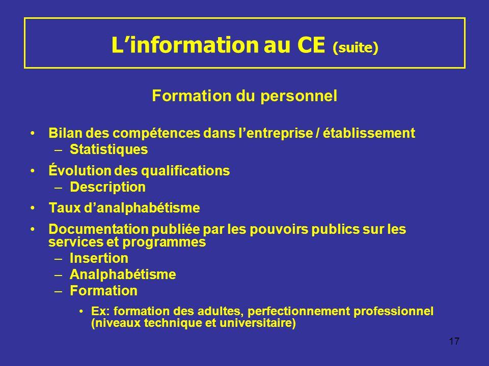 17 Linformation au CE (suite) Formation du personnel Bilan des compétences dans lentreprise / établissement –Statistiques Évolution des qualifications