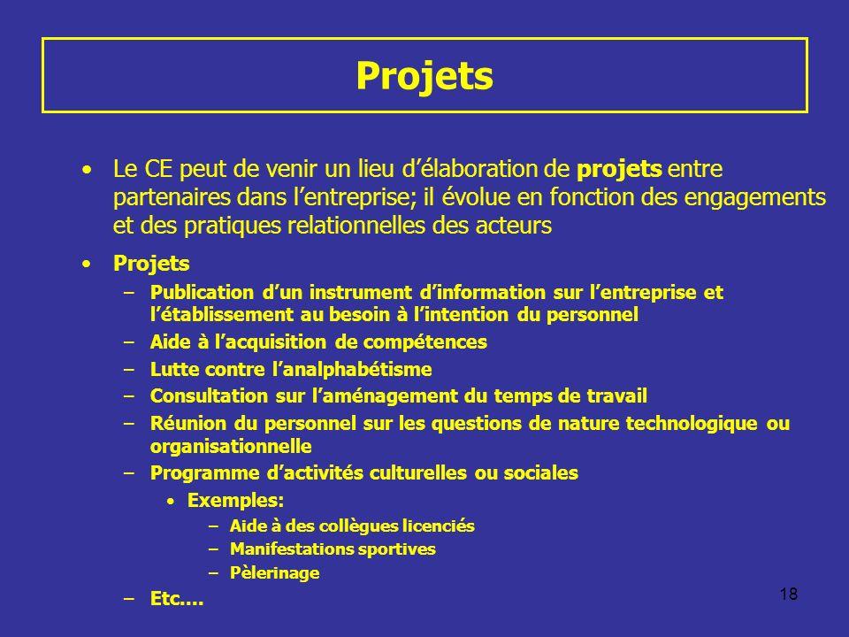 18 Projets Le CE peut de venir un lieu délaboration de projets entre partenaires dans lentreprise; il évolue en fonction des engagements et des pratiq